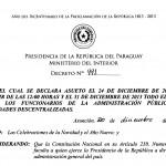 Decreto Nº 991/13 por el cual se declara asueto imagen