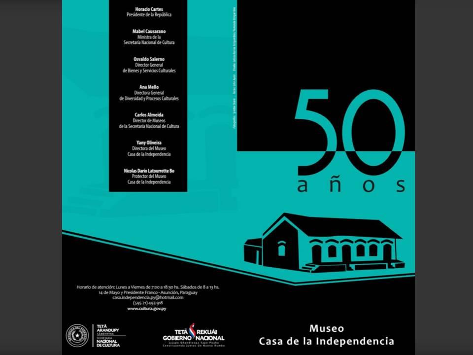 Tríptico Museo Casa de la Independencia 50 años imagen