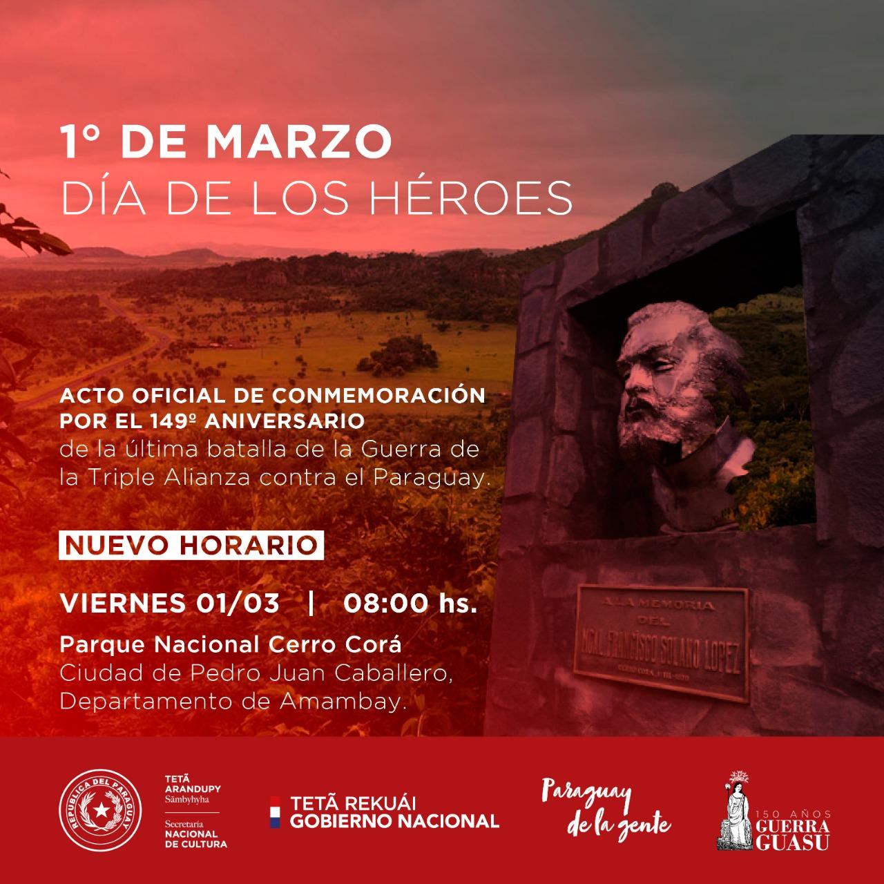 Conmemorarán en Cerro Corá el Día de los Héroes imagen