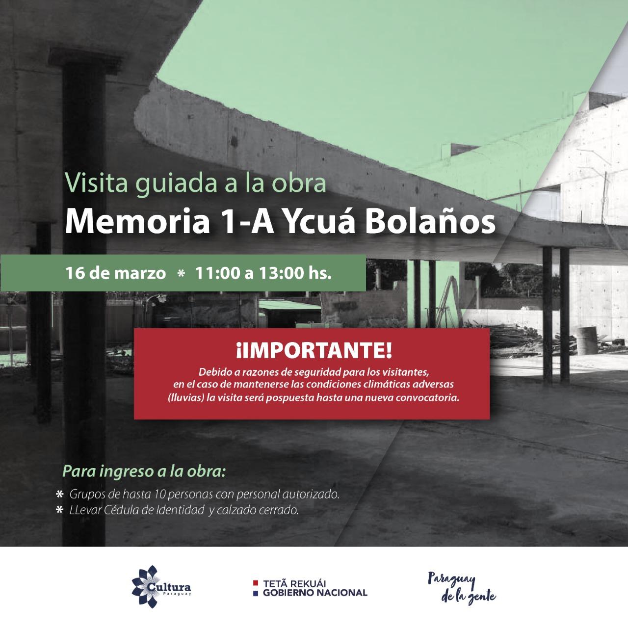 Visita guiada al sitio de memoria 1-A Ycuá Bolaños estará sujeta a las condiciones climáticas imagen