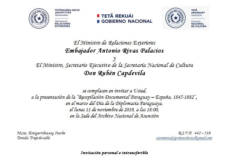 Relaciones Exteriores entregará al Archivo Nacional recopilación documental Paraguay- España 1845-1882 imagen