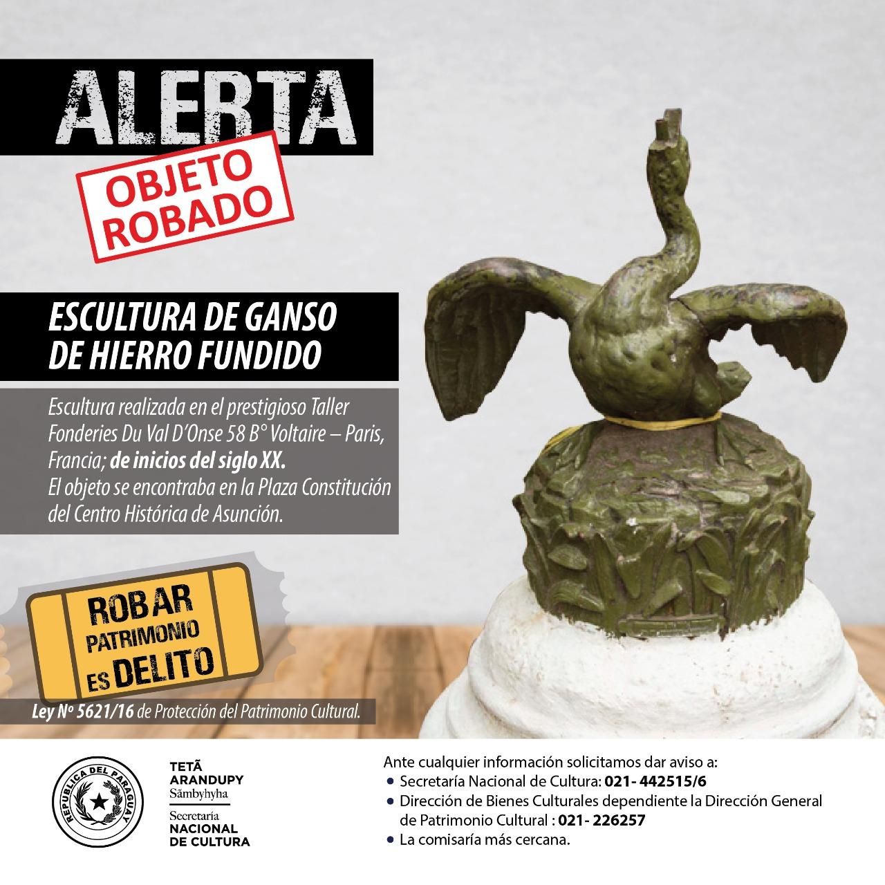 Alerta: roban pieza escultórica de la Plaza Constitución del Centro Histórico de Asunción imagen