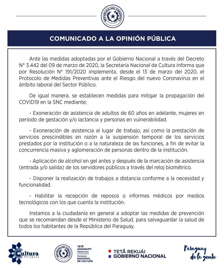 Coronavirus: Secretaría Nacional de Cultura implementa Protocolo de Medidas Preventivas ante el riesgo en el ámbito laboral del sector público imagen