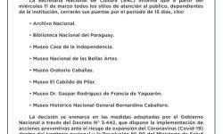 Coronavirus: Secretaría Nacional de Cultura informa sobre cierre de sitios de atención al público ante las medidas adoptadas por el Gobierno Nacional imagen