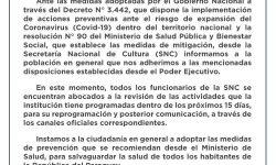 Coronavirus: Comunicado de la Secretaría Nacional de Cultura ante las medidas adoptadas por el Gobierno Nacional imagen