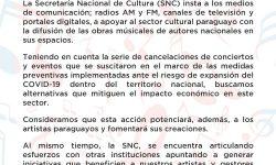 La SNC insta a los medios de comunicación apoyar al sector cultural paraguayo con la difusión de las obras musicales de autores nacionales en sus espacios