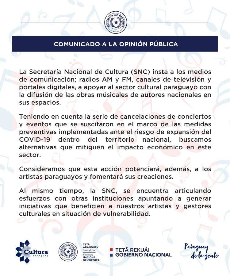 La SNC insta a los medios de comunicación apoyar al sector cultural paraguayo con la difusión de las obras musicales de autores nacionales en sus espacios imagen