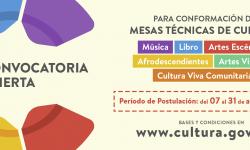 Convocatoria abierta para integrar las Mesas Técnicas de Cultura imagen